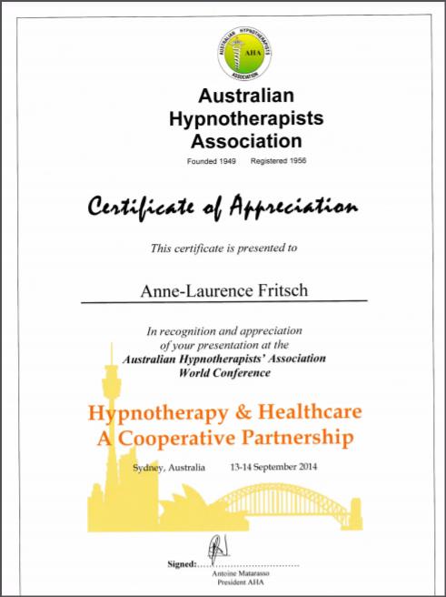Certificat d appreciation aha